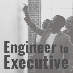 Engineer to executive icon in gray.