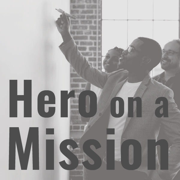 Hero on a mission icon in gray.